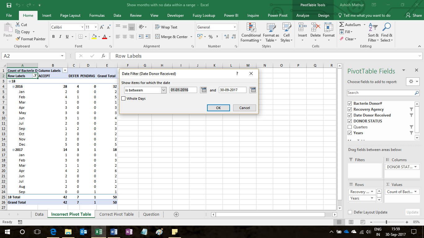 Pivot tables ashish mathurs blog as you can see in the image above august 2016 and may 2017 are missing because there is no data for that period however one would like to show those 2 gamestrikefo Choice Image