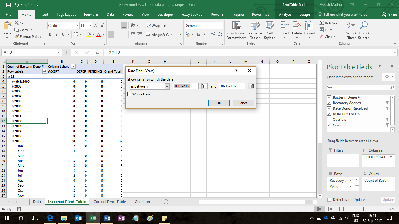Pivot tables ashish mathurs blog so the question is how can one show even those months within a chosen date range in which there is no data in other words one has to think of a way gamestrikefo Choice Image