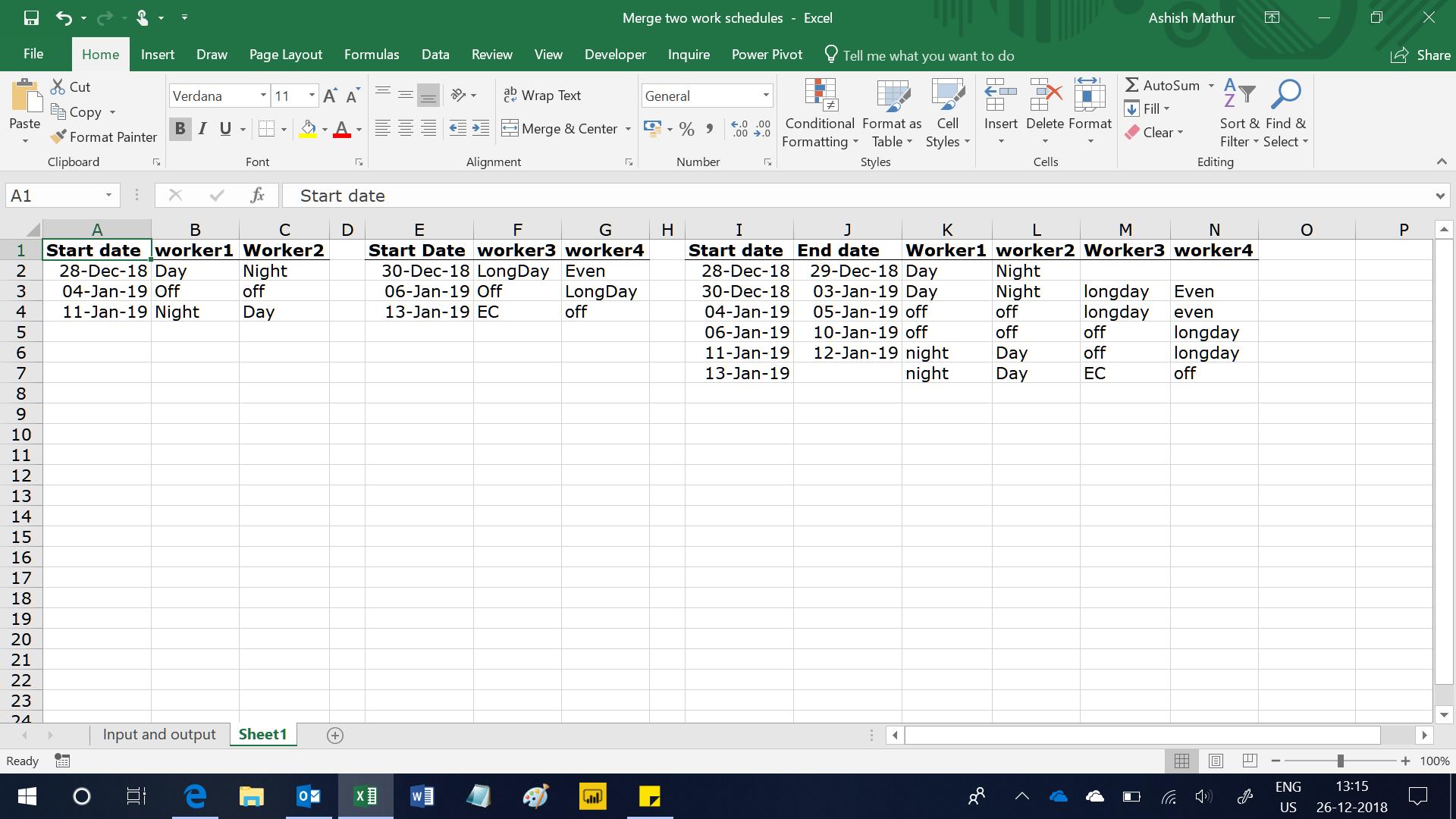 Merge 2 work schedules